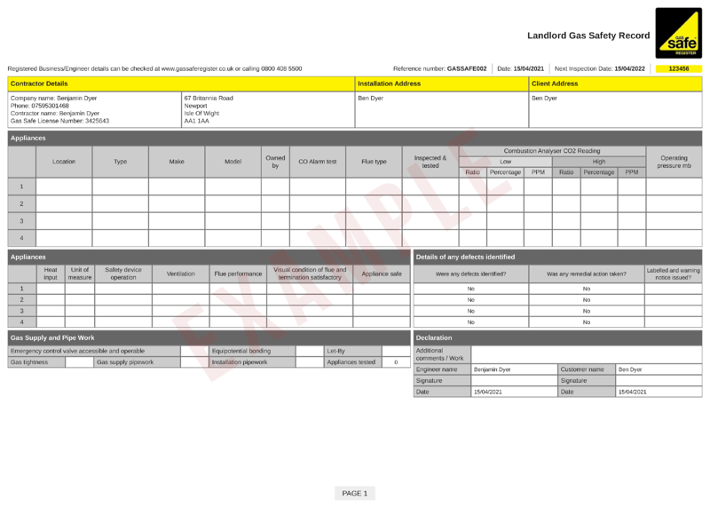 sample CP12 landlord gas safety record